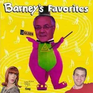 Album cover parody of Barney's Favorites, Vol. 1 by Barney