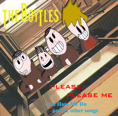 Album cover parody of Please Please Me by The Beatles