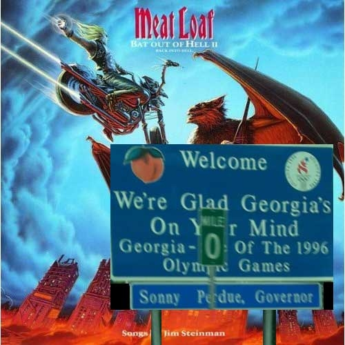 Album cover parody of Bat Out Of Hell II: Back Into Hell by Meat Loaf