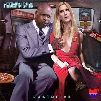 Album cover parody of Lovedrive by Scorpions
