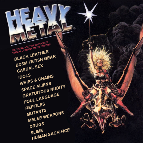 Album cover parody of Heavy Metal: Music From The Motion Picture by Various Artists