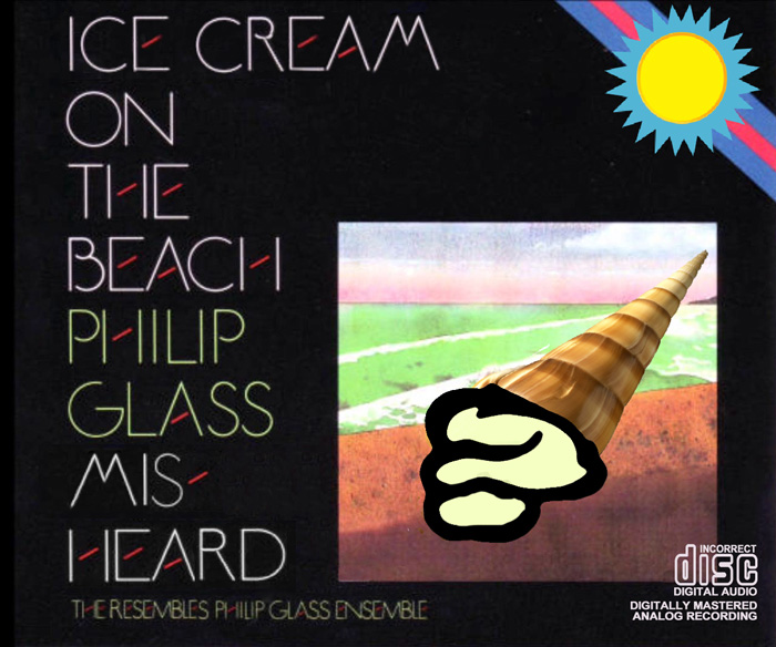 Album cover parody of Glass: Einstein On The Beach by Philip Glass