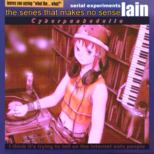 Album cover parody of Serial Experiments Lain Cyberia by Japanimation