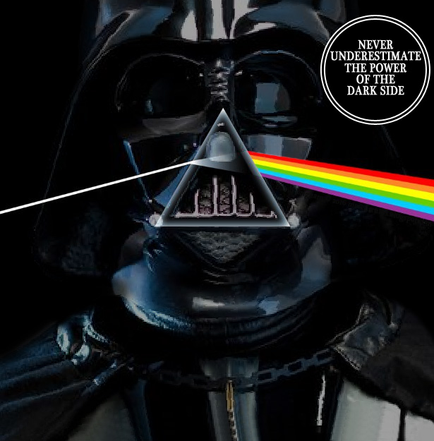 Album cover parody of Dark Side Of The Moon by Pink Floyd